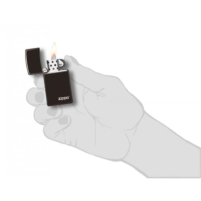 26583 Slim® High Polish Black Zippo Logo