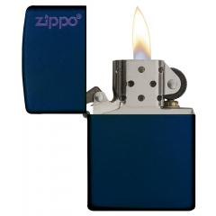 26098 Navy Matte Zippo Logo