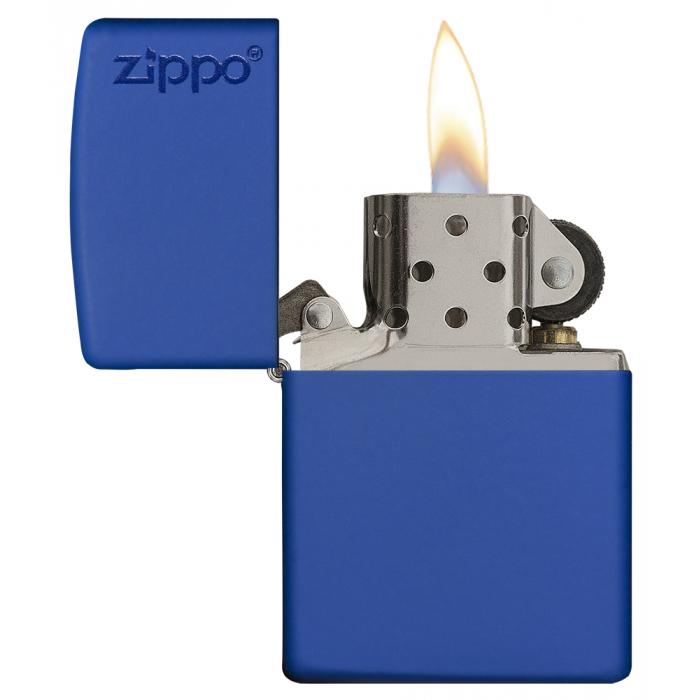 26095 Royal Blue Matte Zippo Logo