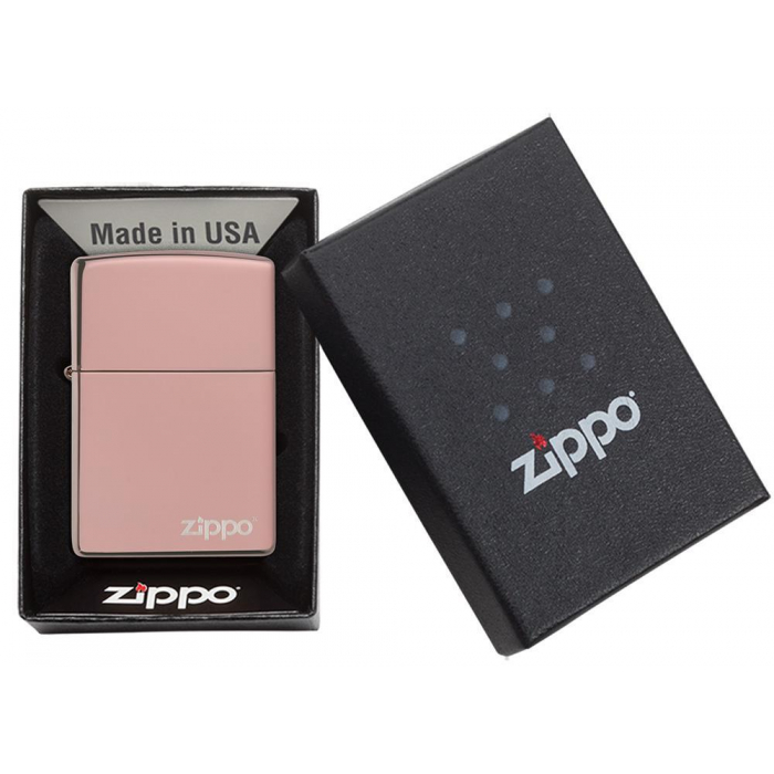 26908 High Polish Rose Gold Zippo Logo