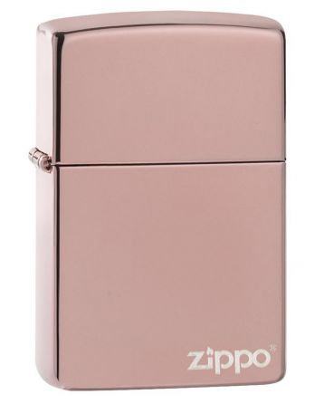 26908 High Polish Rose Gold Zippo Logo