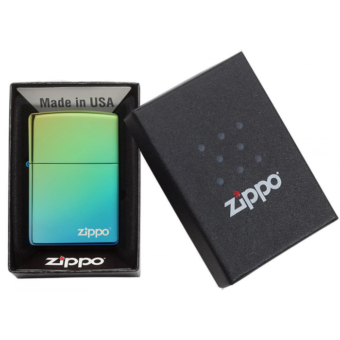 26914 High Polish Teal Zippo Logo