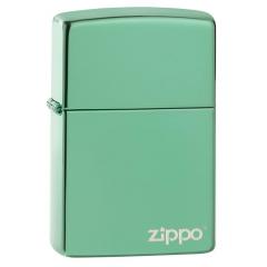 26585 High Polish Green Zippo Logo